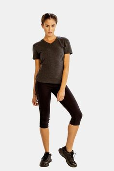 Get 25% Discount on Grey V-Neck Half Sleeve Tees for Women from Alanic Retail