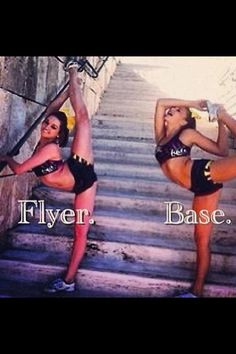 I'm a flyer, And the base side is totally me definately me! # Cheer stunts Image about girls in Photography by Dani on We Heart It Cheer Qoutes, Cheerleading Quotes, Cheer Stunts, Cheer Dance, Competitive Cheerleading, Funny Cheer Quotes, Cheer Jumps, Gymnastics Quotes, All Star Cheer