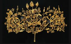 The golden diadem of the Scythian princess Meda, found in the tomb of Philip II of Macedon. Aigai, Macedonia, Greece
