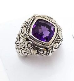 Sterling Silver Square Faceted Amethyst Filigree Ring Size 7 & 3/4