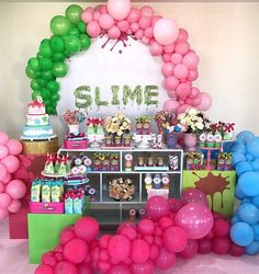 9th Birthday Parties, 10th Birthday, Diy Slime, Holiday Cakes, Holidays And Events, Dessert Table, Birthday Decorations, Party Time, Balloons