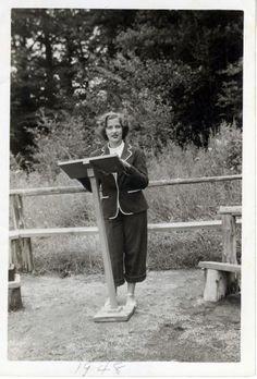<b>1948</b> Ruth Bader delivers a sermon as camp Rabbi at the age of 15, at Che-Na-Wah camp in Minerva, N.Y.