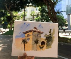 Watercolor Painting on Location - Tel Aviv Israel (Original Artwork)