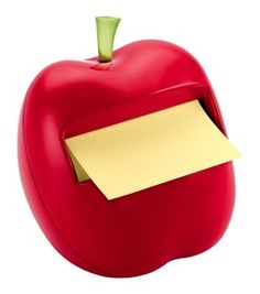Post-it apple shaped note dispenser, great for teachers!! -- Our Obsession: Office Supplies by Professionals in Pearls  -- a list of fun and cute office supplies, great for the tax free holiday starting tomorrow!!