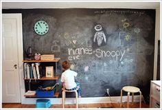 Hubby wants a chalkboard wall in our new house in the office/playroom. Love this idea!