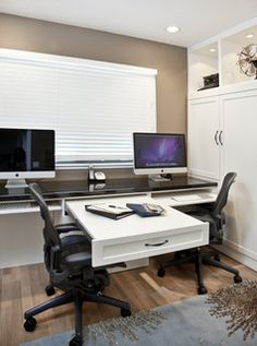 Home Office Designs - Home offices are now a norm to modern homes. Here are some brilliant home office design ideas to help you get started. Home Office Desks, Home Office Furniture, Furniture Ideas, Apartment Office, Office Spaces, Double Desk Office, Small Office, Furniture Layout, Office Ideas For Home