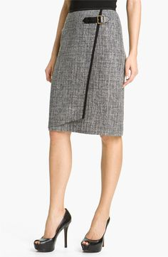 Nic + Zoe Faux Wrap Tweed Skirt available at Nordstrom Modest Clothing, Modest Outfits, Skirt Outfits, Dress Skirt, Business Outfits, Work Wardrobe, Black Trim, Work Attire, Mode Style