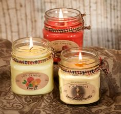 Handcrafted soy candles Soy Candles, Candle Jars, Fish In A Bag, Handmade Candles, Gift Certificates, The Balm, Candles, Creative