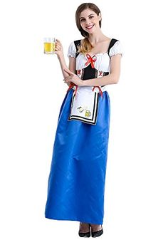 0c83e6bd7d6e KINDOYO Women's Elegant Fancy Dress Halloween Oktoberfest Parties Costume  Maid Cosplay Dirndl Dresses, Blue/