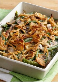 """Better-than-Ever Green Bean Casserole – What makes this green bean casserole """"better than ever""""? We think it's the combination of fresh mushrooms and sour cream with crunchy French fried onions."""