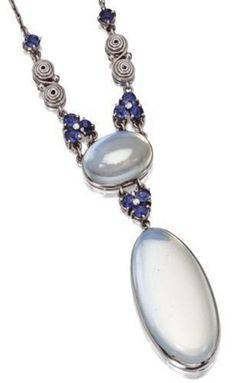 Platinum, moonstone and sapphire pendant-necklace, Tiffany & Co. circa 1920.