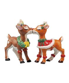 Look what I found on #zulily! Christmas Reindeer Salt & Pepper Shakers #zulilyfinds