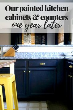 It's so easy to paint your kitchen cabinets - and even your counters - to give them a quick update! But how do they hold up?! Here's a look at how our painted kitchen cabinets and counters are doing after living with them for a year.