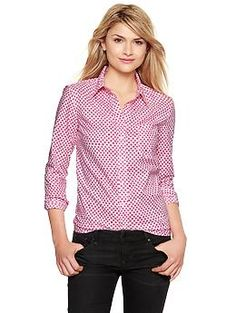 Printed boyfriend shirt - Gap Fall 2013 - Pink w/Red