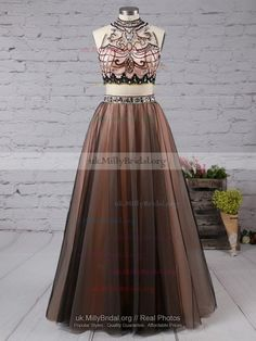Discounted Princess High Neck Satin Tulle with Beading Floor-length Two Piece Prom Dresses
