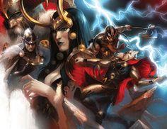Thor, Loki, Balder, Odin and Bor by Marko Djurdjevic.