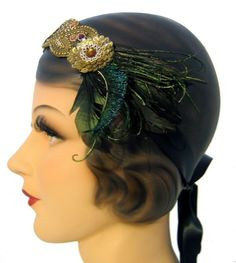The Carina  Flapper Headband  Feather by topsyturvydesign on Etsy