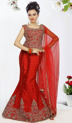 Red Embroidered Art Silk Fish Cut Lehenga Choli Price: Usa Dollar $467, British UK Pound £272, Euro343, Canada CA$502 , Indian Rs25218.