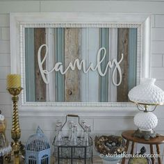 Wood Signs Start at Home Decor's Reclaimed Family Wood Signs with Wood Word Cutouts.Start at Home Decor's Reclaimed Family Wood Signs with Wood Word Cutouts. Diy Home Decor Rustic, Easy Home Decor, Handmade Home Decor, Cheap Home Decor, Farmhouse Decor, Decor Diy, Vintage Farmhouse, Wall Decorations, Large Rustic Wall Decor
