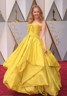 Not quite Belle: Leslie Mann went for Beauty & the Beast glamour, but sadly fell flat in this mustard mass of a dress