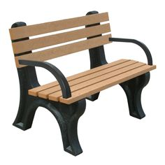 Outdoor Polly Products Econo-Mizer Commercial Grade Recycled Plastic Park Bench with Arms - ASM-EM4BA-01-BLK-BLK