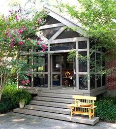 Screened Porch Designs, Screened In Patio, Porch To Sunroom, Enclosed Patio, Side Porch, Porch Garden, Side Garden, Small Porches, Decks And Porches