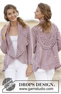 """crochet design Roséalie - Crochet DROPS jacket worked in a circle with lace pattern in """"Cotton Viscose"""". Size: S - XXXL. - Free pattern by DROPS Design - Gilet Crochet, Crochet Coat, Crochet Jacket, Crochet Cardigan, Crochet Clothes, Lace Jacket, Shrug Cardigan, Crochet Sweaters, Sweater Jacket"""