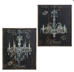 """French Paris Flea Market 20"""" CHANDELIER PRINTS S/2 Vintage Style Raz Imports   #RAZImports #Vintage"""