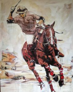 polo player painting, acrylic on canvas, 4'x5', carrie penley
