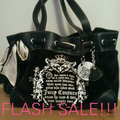 FLASH SALE Authentic Juicy Couture Royal Juicy Bag Like new barely ever used Cream and black ribbon woven through top Magnetic snap on top Brown interior with inside zippered pocket Phone pocket on side of bag Juicy Couture Bags Shoulder Bags