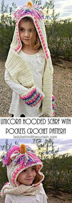 Unicorn Hooded Scarf with Pockets Crochet Pattern