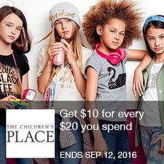 Childrens Place Coupon - $10 Off $20  Get $10 for every $20 you spend at The Childrens Place, valid 7/29-9/12  Brought to you by http://www.imin.com and http://www.imin.com/store-coupons/childrens-place