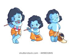 Set Of Little Krishna. Vector Cartoon Illustration On A White. Royalty Free Cliparts, Vectors, And Stock Illustration. Cartoon Illustration, Little Krishna, Indian Illustration, Cute Doodle Art, Shiva Art, Cute Drawings, Art Drawings Sketches Simple