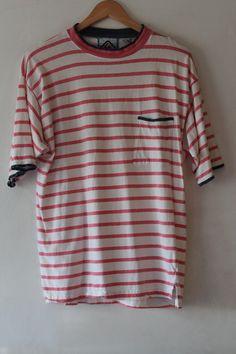 90s Striped Shirt, Surf Skate Style White, Coral and Black, Grunge, Dingy Tshirt Men's MEDIUM, Pocket Tee
