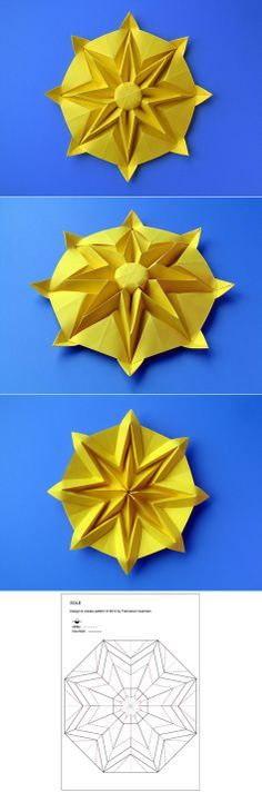 Origami: Sole – Sun, from an octagon from a sheet of paper, 24 x 24 cm