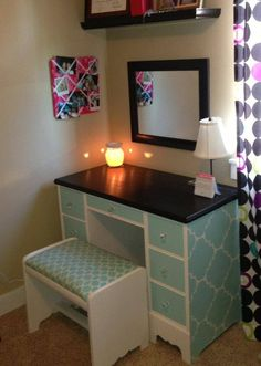 A desk/vanity for a teen girl. (SJM Furniture) painted desk, painted vanity, hand painted, aqua, turquoise, pattern.