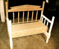 Headboard bench- What a cute idea to do with a crib after the baby factory shuts down!