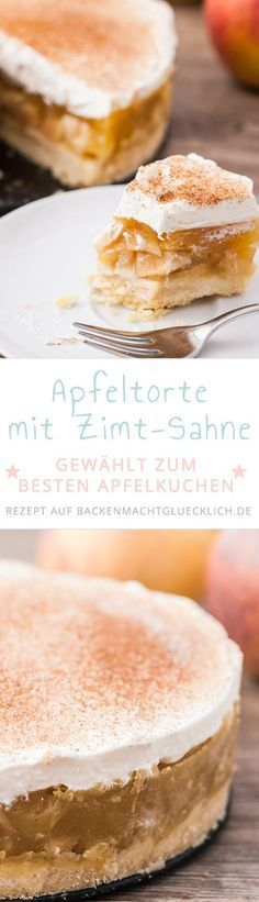 Apple cream cake with pudding- Apfel-Sahne-Torte mit Pudding This apple pie is the best apple pie ever … - Apple Pie Recipes, Tart Recipes, Sweet Recipes, Baking Recipes, Dessert Recipes, Pudding Cake, Banana Pudding, Pudding Desserts, Sweets Cake