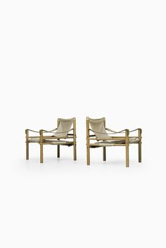 Arne Norell Sirocco easy chairs in ash and canvas at Studio Schalling