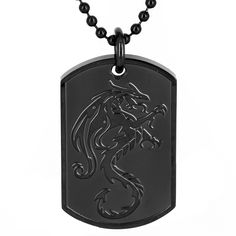 Add a touch of sleek style to any outfit with this stainless steel dragon dog tag pendant. This bracelet features a laser-cut dragon on a high polish black-plated finish, suspended from a 24-inch ball chain that secures with a connector clasp.