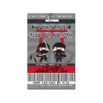 Ninja Birthday Invitations - VIP Pass - PVC Plasti