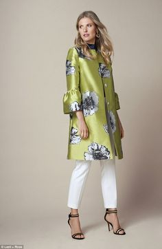 Bold flowers, £98.95, anthropologie.com Top, £90, reiss.com Trousers, £30, next.co.uk Sandals, £49, topshop.com