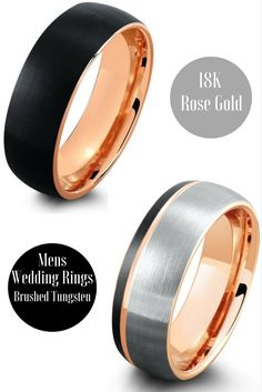 Mens 18K rose gold brushed tungsten wedding bands. Designed with a modern look while still preserving the classic appeal. My future husband would love this wedding ring!