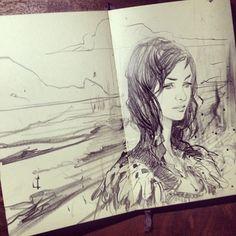journal, sketchbook, art. wesleyburt: more moleskine drawling: nice.