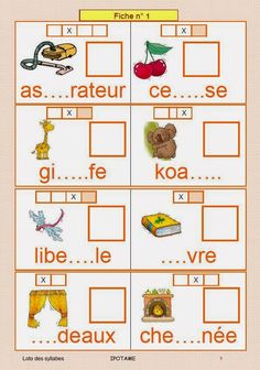 IPOTÂME ....TÂME: CP Loto des syllabes Kids Educational Crafts, Educational Websites, Teaching French, Teaching English, Learn French, Read In French, French Worksheets, Cycle 2, Spanish Language Learning