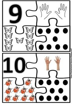 Numerals 1 to 20 and puzzles Numbers For Kids, Numbers Preschool, Math Numbers, Preschool Math, Kindergarten Worksheets, Teaching Math, In Kindergarten, Preschool Education, Kids Learning Activities