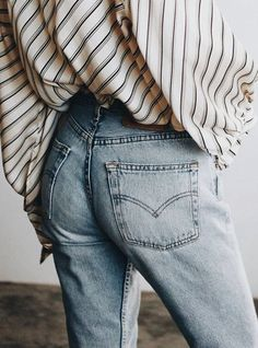 Striped blouse with jeans.
