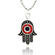 Sterling Silver Oxidized Hamsa Pendant With Red Evil Eye $15.95
