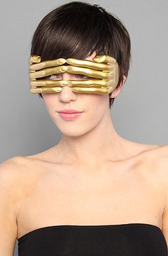 Jeremy Scott for Linda Farrow Sunglasses The Hands Sunglasses in Gold : Karmaloop.com - Global Concrete Culture
