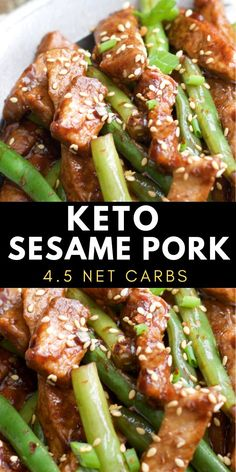 One Pan Keto Sesame Pork and Green Beans has just net carbs per serving and is loaded with tangy Asian flavor! One Pan Keto Sesame Pork and Green Beans has just net carbs per serving and is loaded with tangy Asian flavor! Ketogenic Recipes, Low Carb Recipes, Diet Recipes, Healthy Recipes, Ketogenic Diet, Recipes Dinner, Dessert Recipes, Dinner Ideas, Ketogenic Breakfast